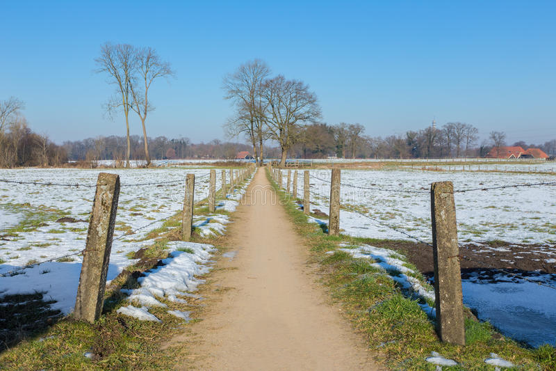 Sandpath fra i prati nevosi nell'inverno olandese immagine stock libera da diritti
