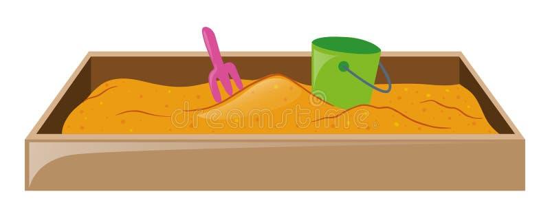 Sandpit met vork en emmer stock illustratie