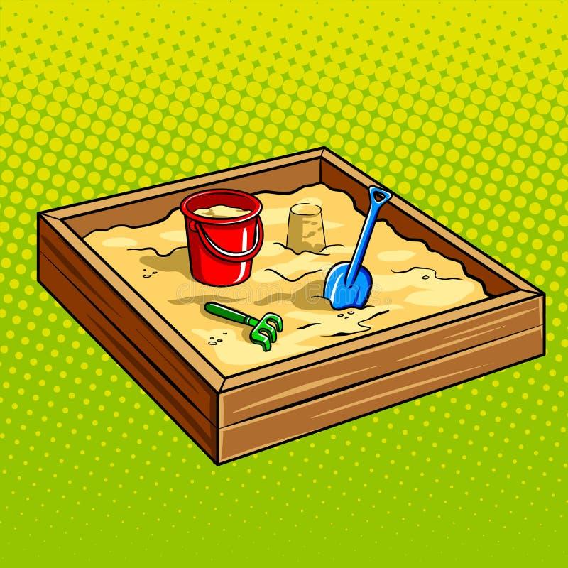 Sandpit voor de vectorillustratie van het kinderenpop-art stock illustratie