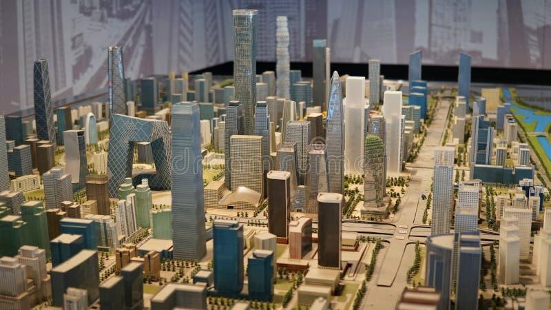 Sandplattenmodell zentralen Geschäftsgebiets Pekings, China lizenzfreies stockfoto