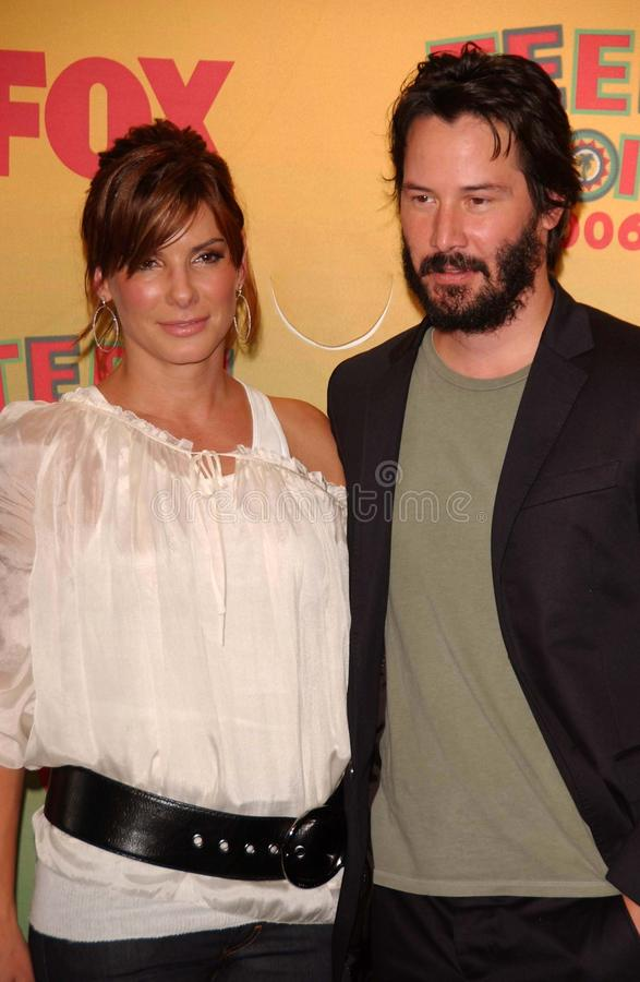 Keanu Reeves, Sandra Bullock fotografia de stock royalty free