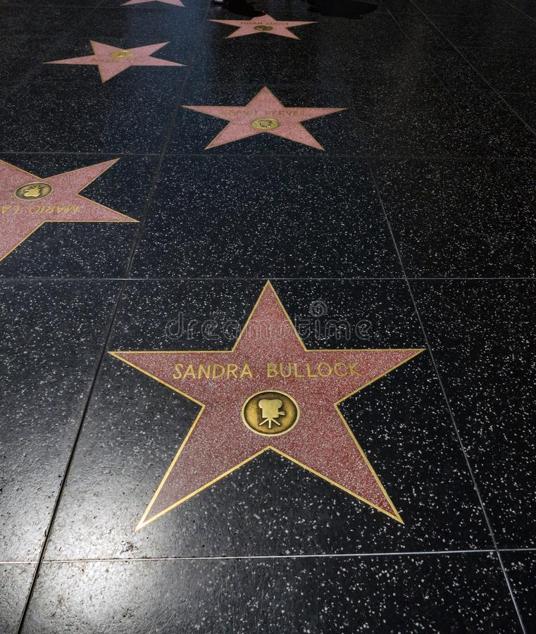Sandra Bullock`s Star, Hollywood Walk of Fame - August 11th, 2017 - Hollywood Boulevard, Los Angeles, California, CA stock photo