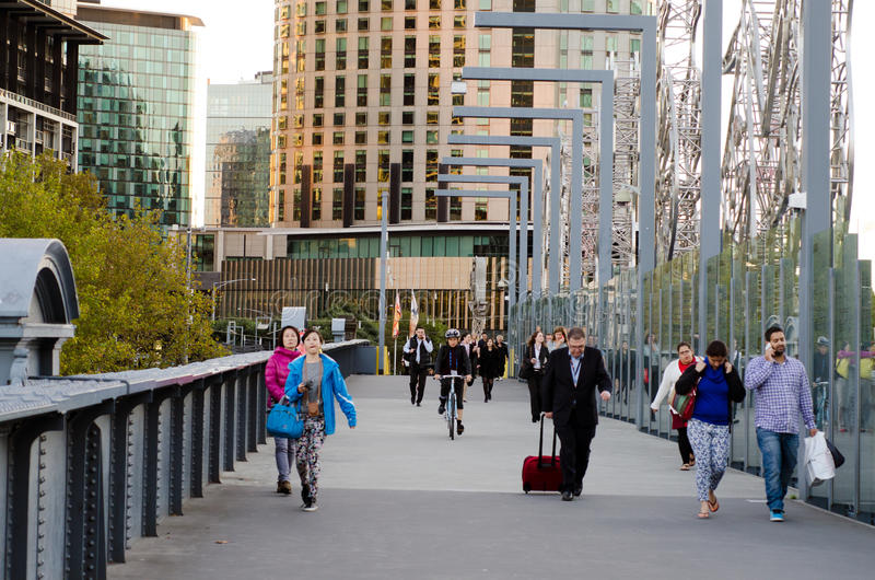 Sandridge Bridge - Melbourne Editorial Stock Photo