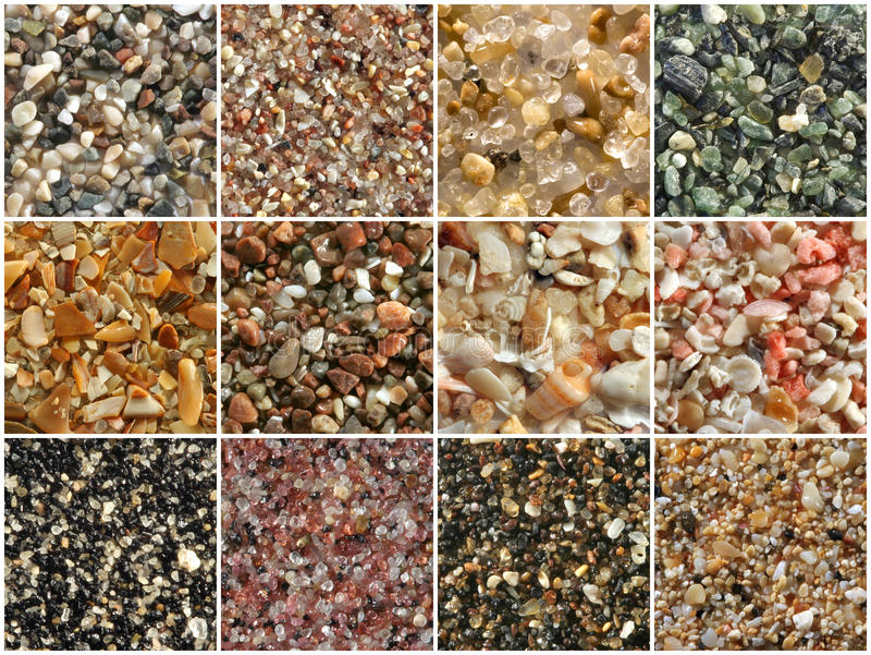 Sands pattern. Sand pattern made of 12 macro photographs of sands from different countries. The sands have various origins (beach, river, mountain, desert) and stock photography
