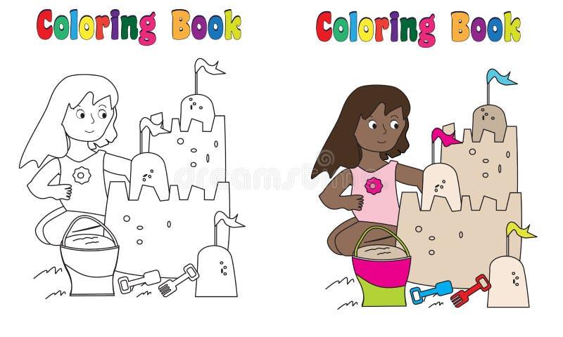 Sandslott för färgläggningbok stock illustrationer