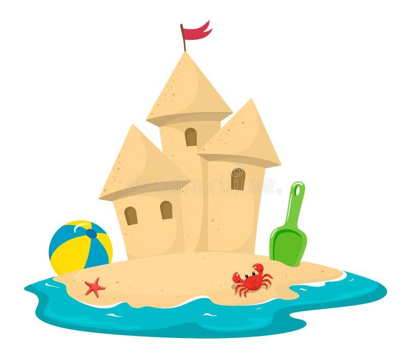 Sandslott som omges av vatten med en krabba, en spatel och en boll Vektorillustration i tecknad filmstil p? en vit bakgrund stock illustrationer