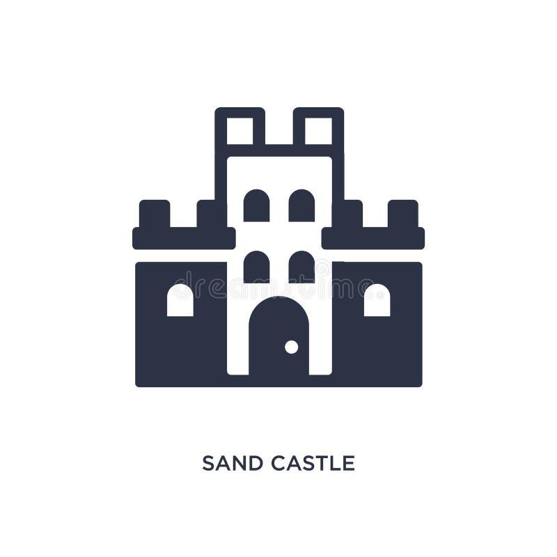 Sandslottsymbol på vit bakgrund Enkel beståndsdelillustration från sommarbegrepp royaltyfri illustrationer