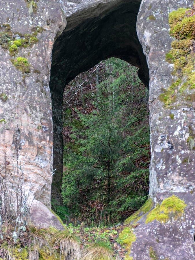 Sandsteinfelsen mit Höhlen reflektieren sich im dunklen Wasser lizenzfreie stockfotografie