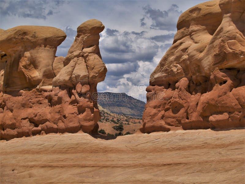 Sandsteinformationen in Teufel ` s Garten stockfotografie