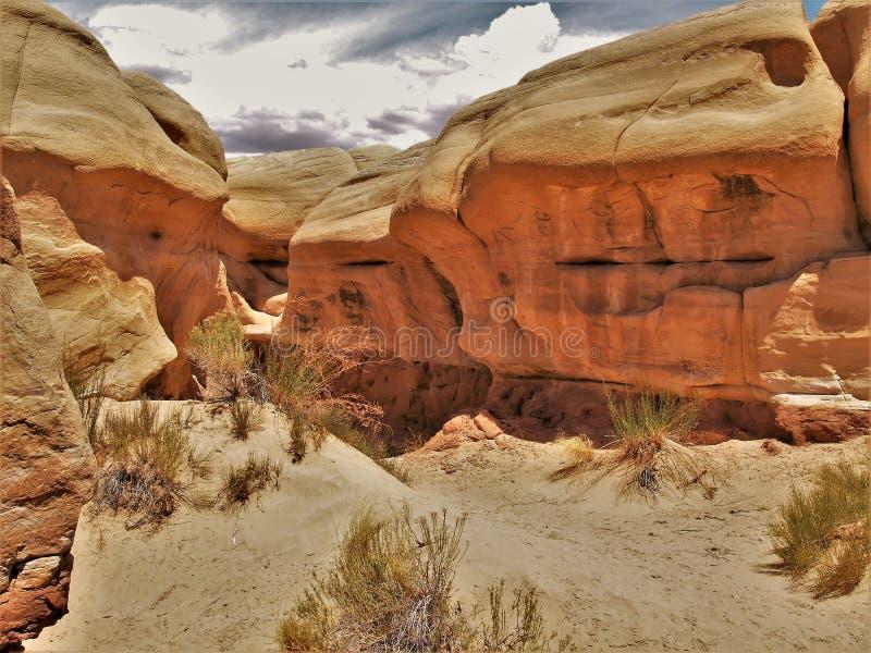 Sandsteinformationen in Teufel ` s Garten stockfoto