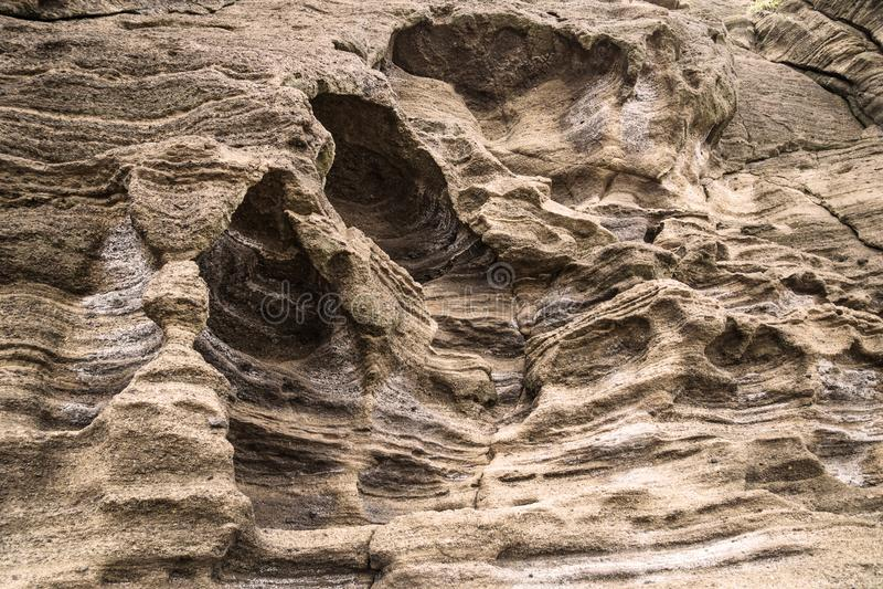 Sandsteinwandbildung an Yongmeori-Strand, Sanbang-ro, Jeju-Insel, Südkorea stockfoto