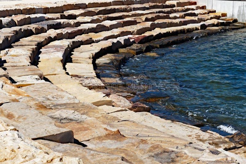 Sandstenkvarter Sydney Harbour Foreshore, Barangaroo, Australien royaltyfri foto