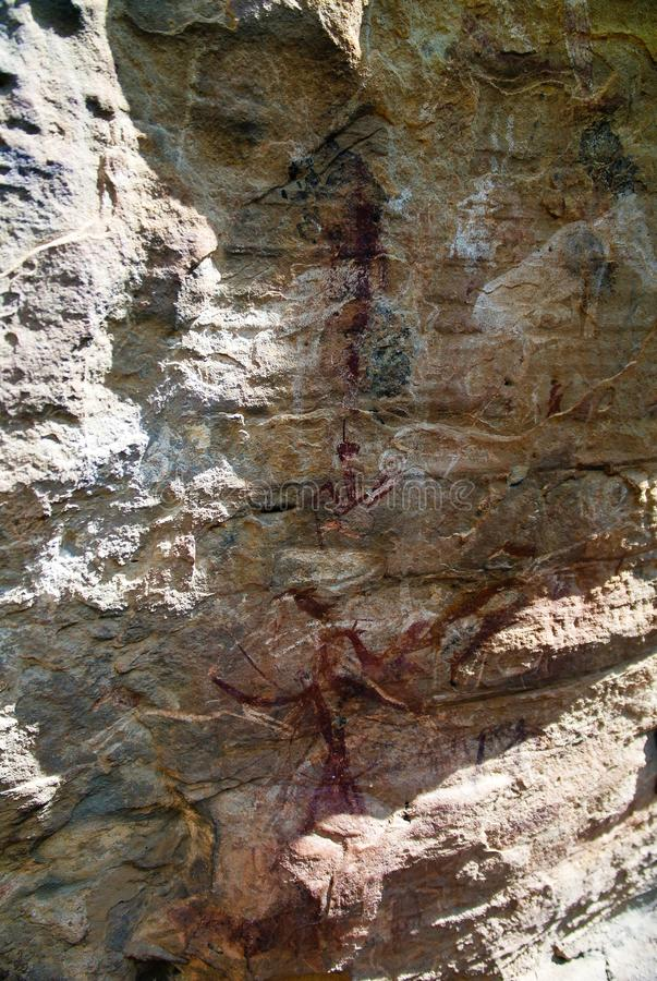 Sandstone with bushmen aka San people rock paintings at Makhaleng Valley near Malealea , Mafeteng , Lesotho royalty free stock photos