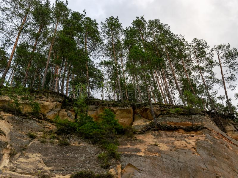 Sandstone cliffs in the evening light. Cliff and tree reflections, Erg stock photos
