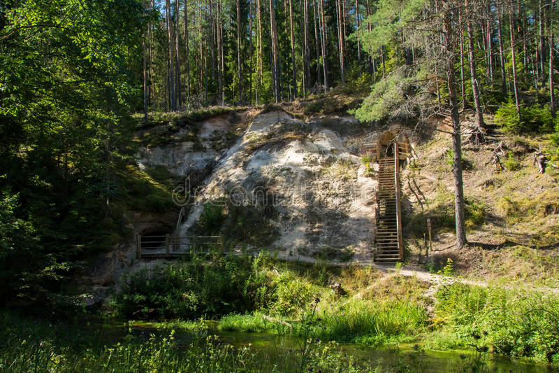 Sandstone cliffs. Mighty sandstone cliffs near the Kaleja cave in Gauja National Park, Latvia royalty free stock image