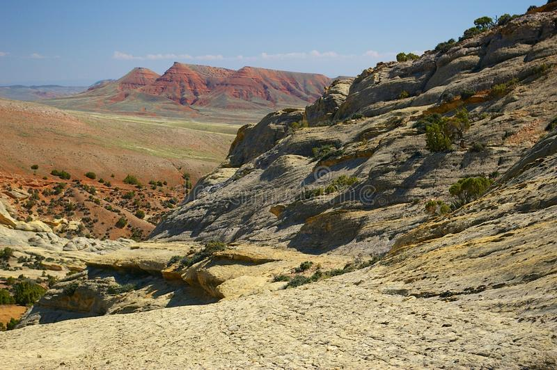 Sandstone cliffs in Wyoming. Sandstone cliffs on the west side of the Big Horn Mountains in Wyoming stock photos