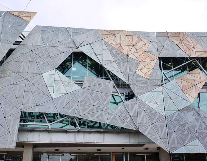 Sandstone decorative facade on fed square. A detail of the Modern architecture building on Federation square in Melbourne in Australia royalty free stock image