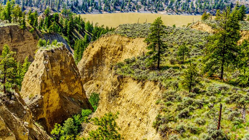 Sandstone erosion created a few Hoodoos along the Fraser River and Highway 12 between the towns of Lillooet and Lytton stock images