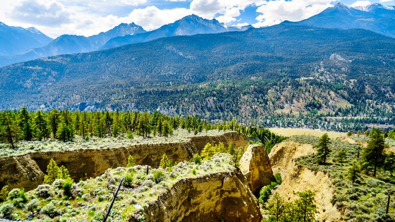 Sandstone erosion created a few Hoodoos along the Fraser River and Highway 12 between the towns of Lillooet and Lytton royalty free stock photos