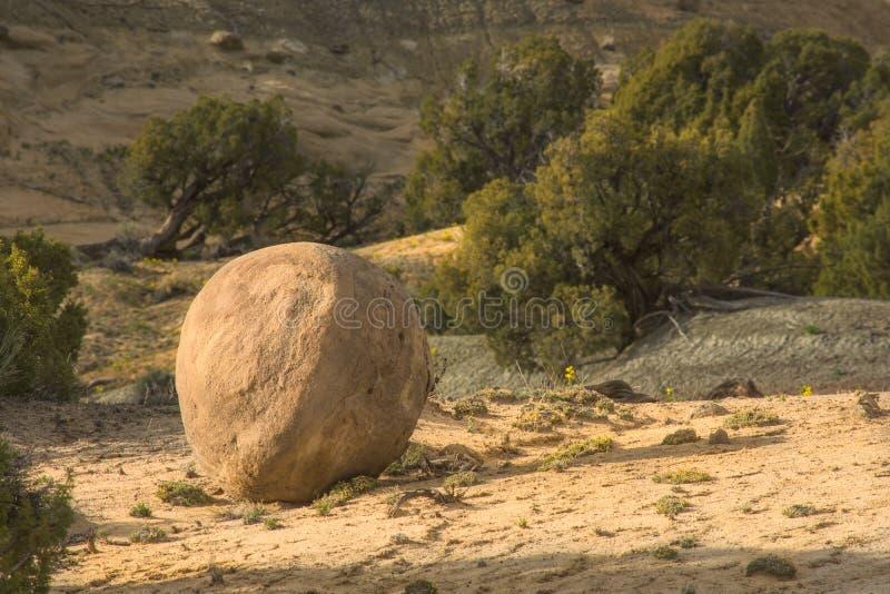 Sandstone Formation Round Rock Ball. Desert Scene stock photo