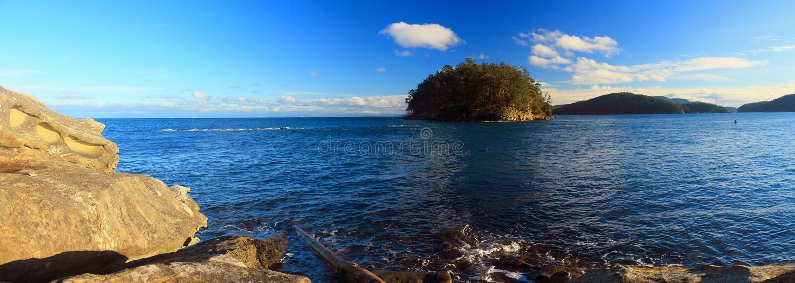 Georgeson Island in Evening Light, Gulf Islands National Park, British Columbia, Canada. Sandstone formations at Campbell Point and Georgeson Island in winter royalty free stock image