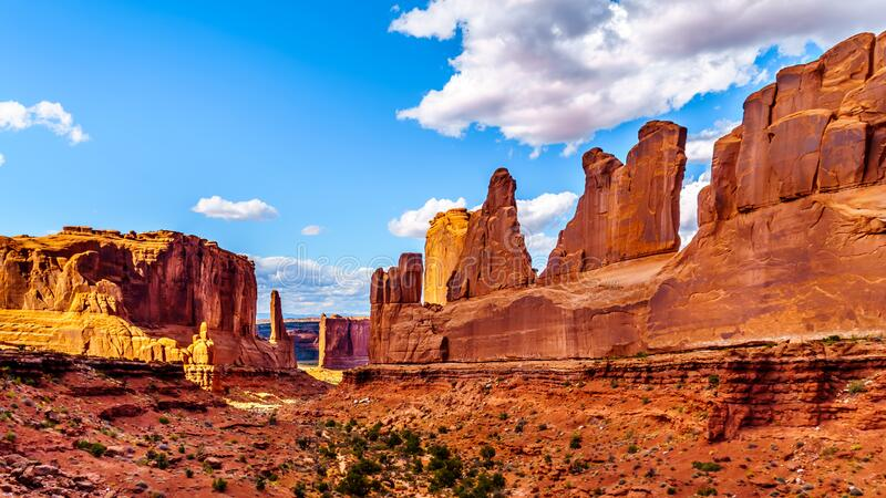Sandstone Hoodoos, Pinnacles and Rock Fins at the Park Avenue valley in Arches National Park royalty free stock photo
