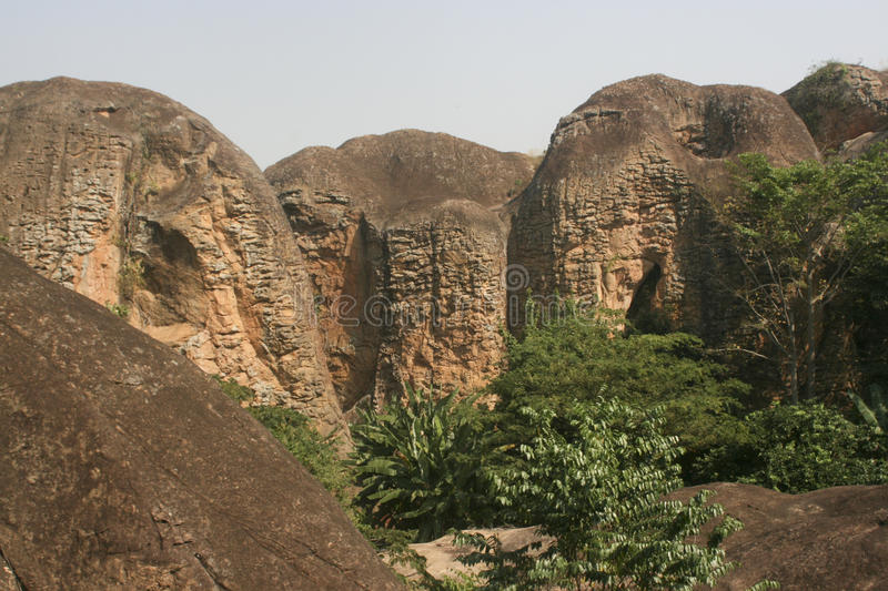 Sandstone mountains in Ghana. These sandstone mountains are found in the Brong Ahafo Region of Ghana royalty free stock photography