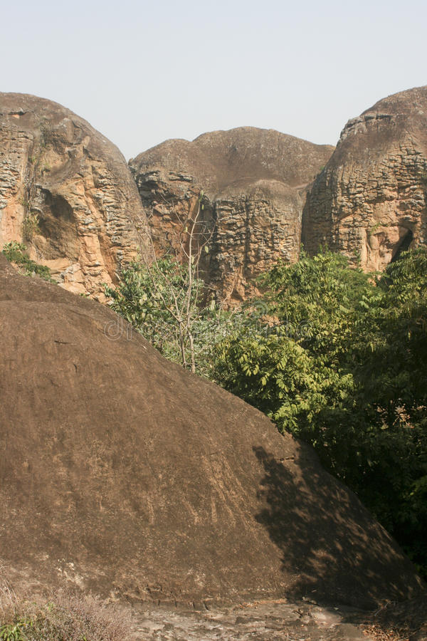 Sandstone mountains in Ghana. These sandstone mountains are found in the Brong Ahafo Region of Ghana stock photo