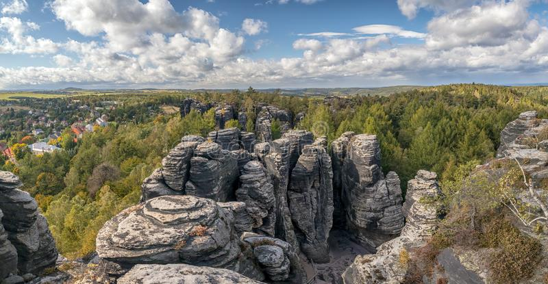 Sandstone Mountains The Tisa Rocks, Tisa Walls, Czech republic. Landscape with rocks in Sandstone Mountains The Tisa Rocks, Tisa Walls Tiske steny, Tyssaer Wä royalty free stock photography