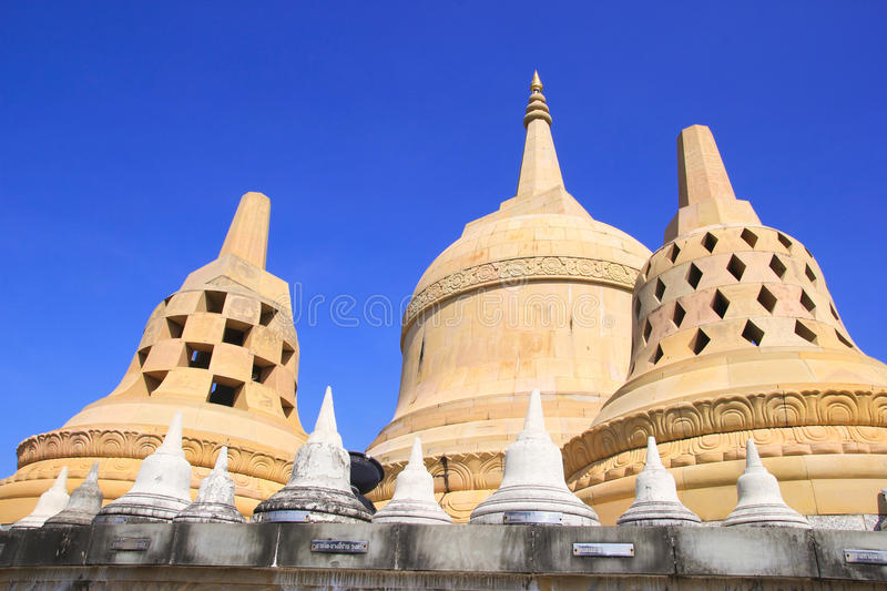 Sandstone Pagoda in Pa Kung Temple at Roi Et of Thailand. There is a place for meditation. ROI ET, THAILAND - NOV04,2015: Sandstone Pagoda in Pa Kung Temple at stock image