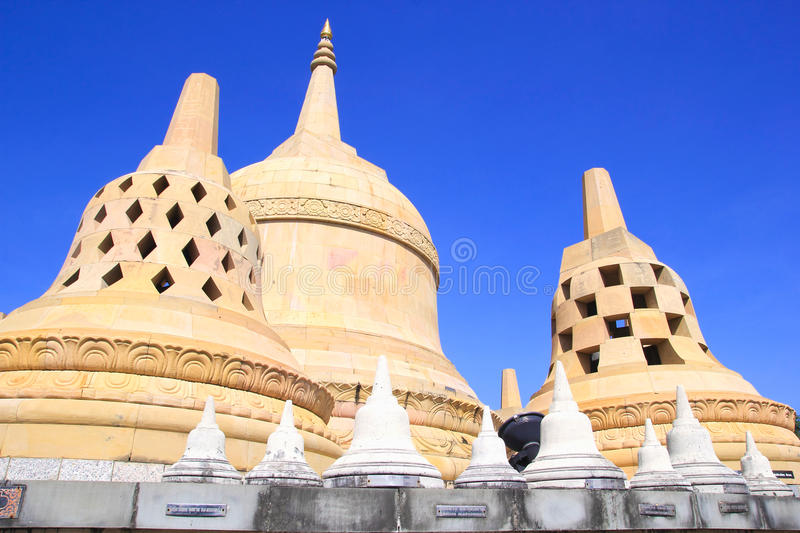 Sandstone Pagoda in Pa Kung Temple at Roi Et of Thailand. There is a place for meditation. ROI ET, THAILAND - NOV04,2015: Sandstone Pagoda in Pa Kung Temple at royalty free stock photos
