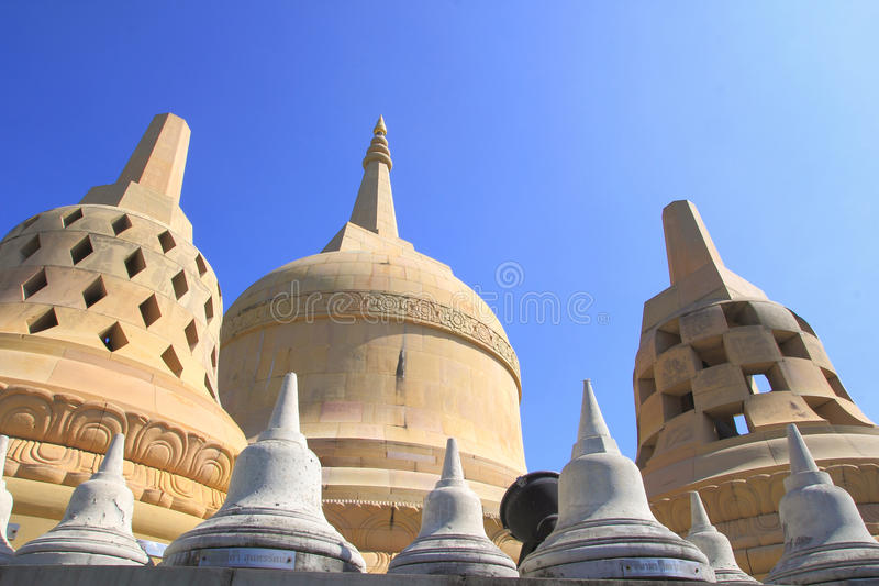 Sandstone Pagoda in Pa Kung Temple at Roi Et of Thailand. There is a place for meditation. ROI ET, THAILAND - NOV04,2015: Sandstone Pagoda in Pa Kung Temple at stock photography