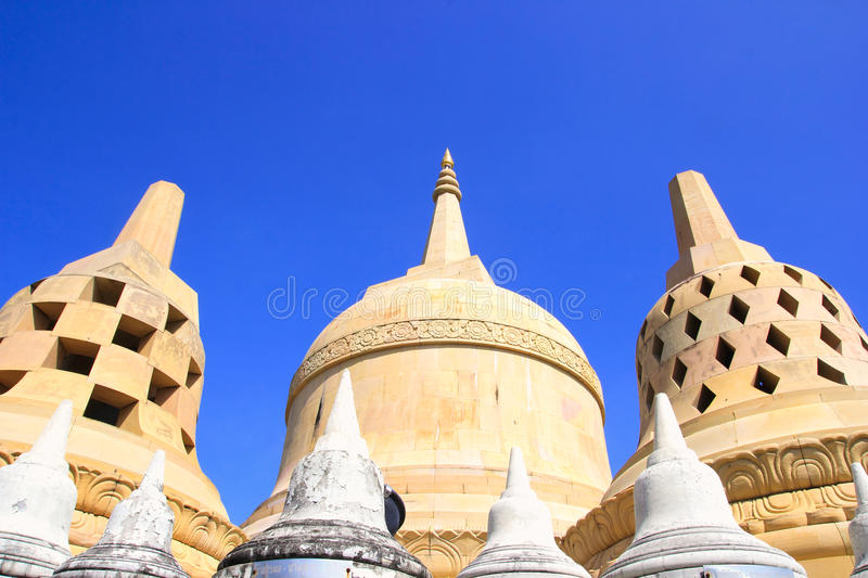 Sandstone Pagoda in Pa Kung Temple at Roi Et of Thailand. There is a place for meditation. ROI ET, THAILAND - NOV04,2015: Sandstone Pagoda in Pa Kung Temple at stock photo