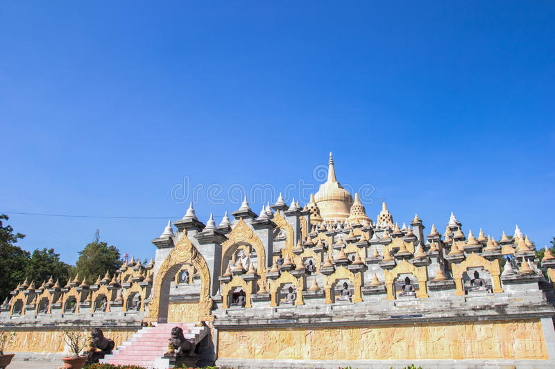 Sandstone Pagoda in Pa Kung Temple at Roi Et of Thailand. There is a place for meditation. ROI ET, THAILAND - NOV04,2015: Sandstone Pagoda in Pa Kung Temple at royalty free stock images