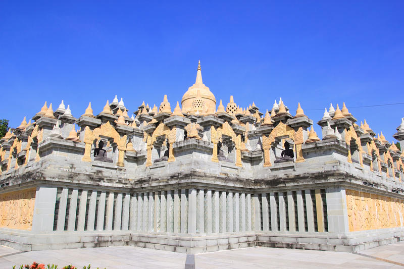 Sandstone Pagoda in Pa Kung Temple at Roi Et of Thailand. There is a place for meditation. ROI ET, THAILAND - NOV04, 2015: Sandstone Pagoda in Pa Kung Temple at royalty free stock photos