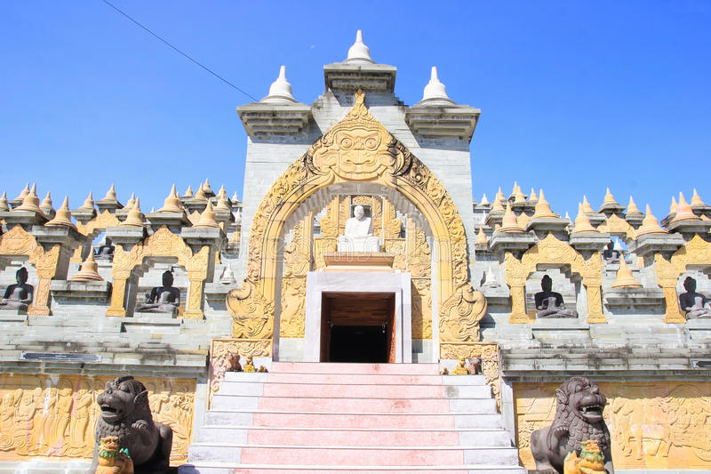 Sandstone Pagoda in Pa Kung Temple at Roi Et of Thailand. There is a place for meditation. ROI ET, THAILAND - NOV04,2015: Sandstone Pagoda in Pa Kung Temple at royalty free stock photo