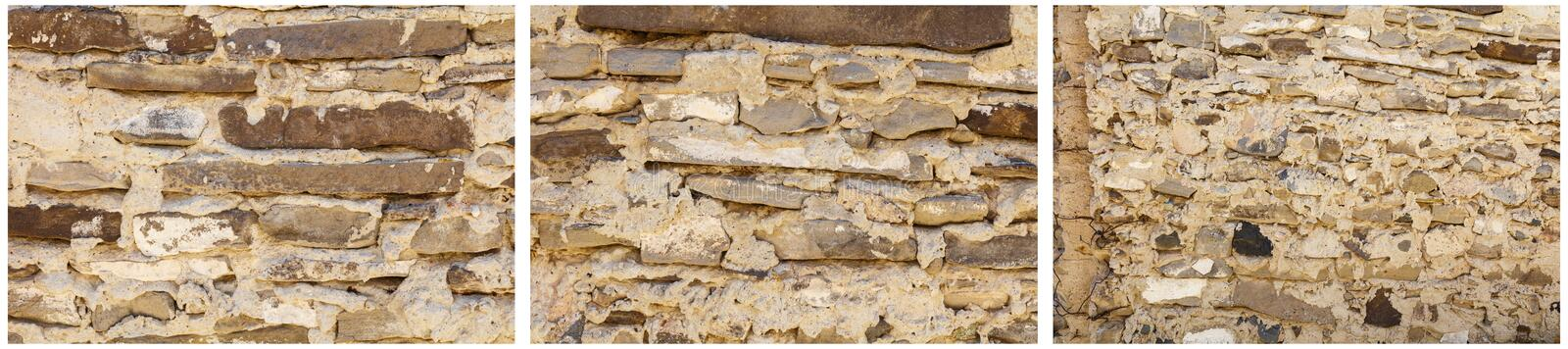 Sandstone slab old wall stacked mortar collage. Sandstone sedimentary rocks stack mortar old pattern texture dry wall vintage outdoor construction collage stock photography
