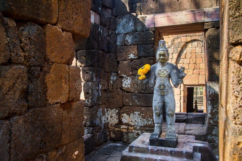 Download Sandstone Statue Of God Khmer Art At Ancient Thai Castle Or Pras Stock Photo - Image: 83702754