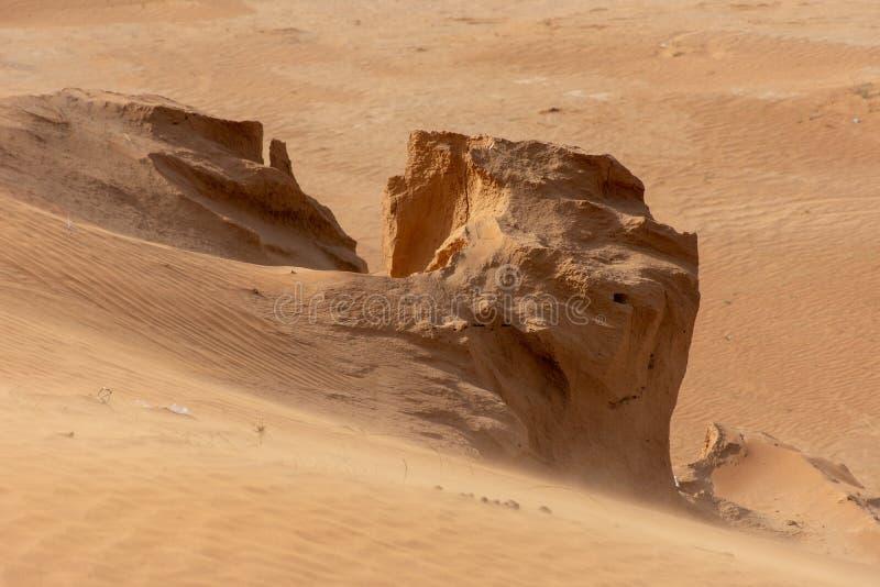 Sandstorm i öknen av Förenadeen Arabemiraten som blåser sand över jordningen royaltyfria bilder