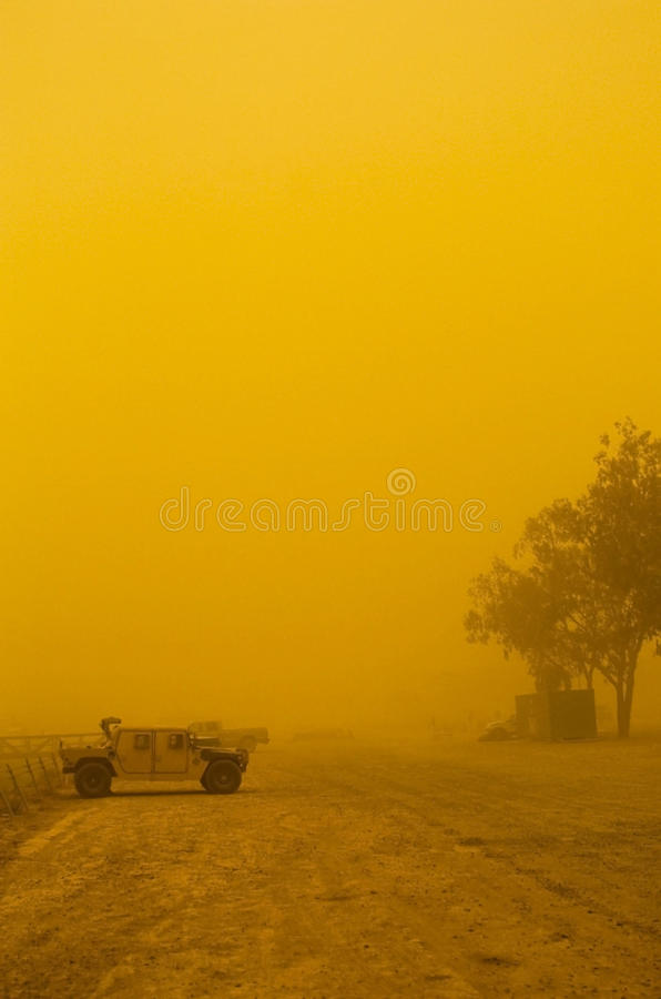 Sandstorm in Iraq. A photo of a sandstorm on Camp Victory in Iraq stock image