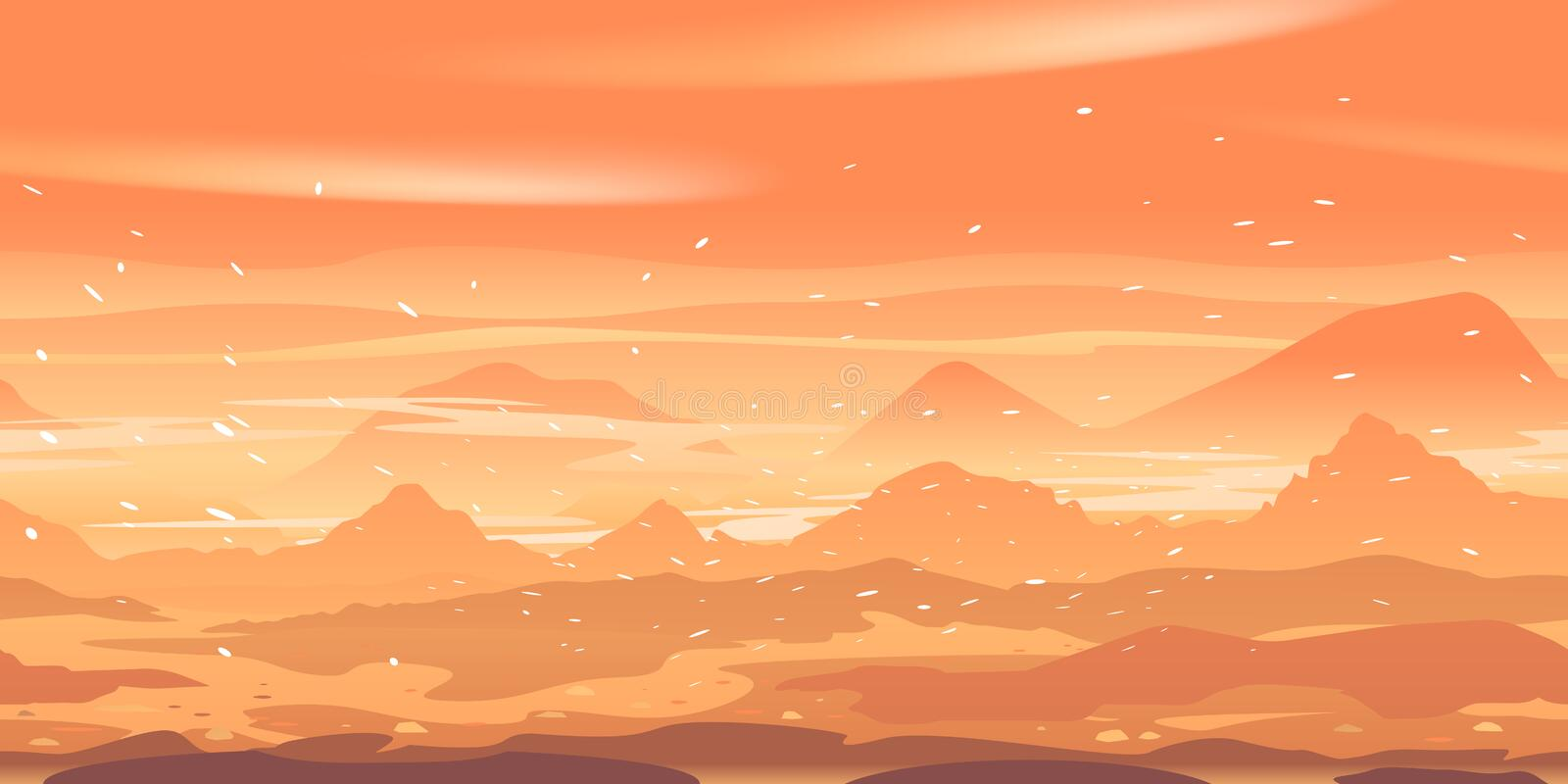Sandstorm on Mars landscape game background. Sandstorm on planet Mars landscape game background tillable horizontally, sand hills and mountains in dust on a vector illustration