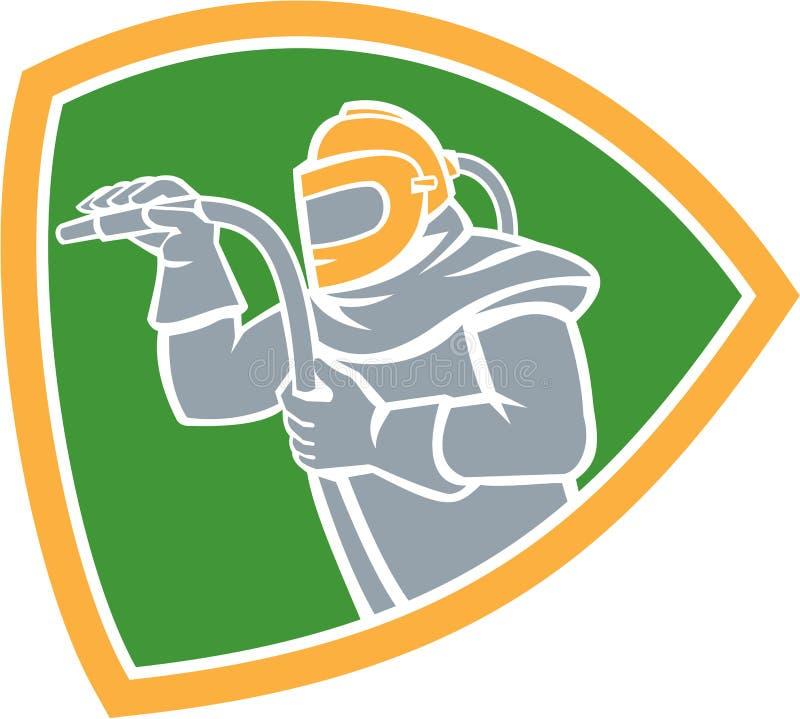 Sandstrahler-Sandstrahlen-Schlauch-Schild Retro- lizenzfreie abbildung