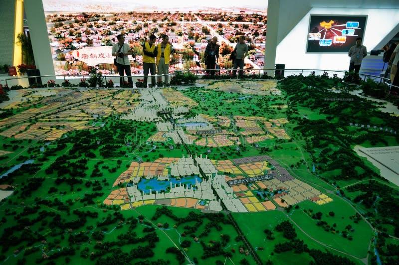 Sandtabell av den stads- planläggningen fotografering för bildbyråer