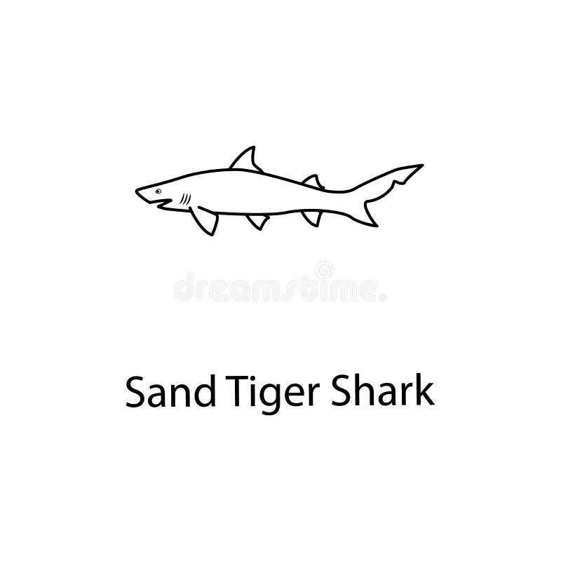 Sandtigerhaiikone Element des Meeresflora und -fauna für bewegliche Konzept und Netz apps Dünne Linie Sandtigerhaiikone kann für  stock abbildung