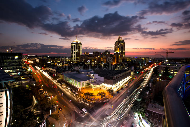 Sandton, Johannesburg, Gauteng, South Africa. Elevated view of Sandton City in Johannesburg, Gauteng, South Africa. An affluent area in the financial centre of