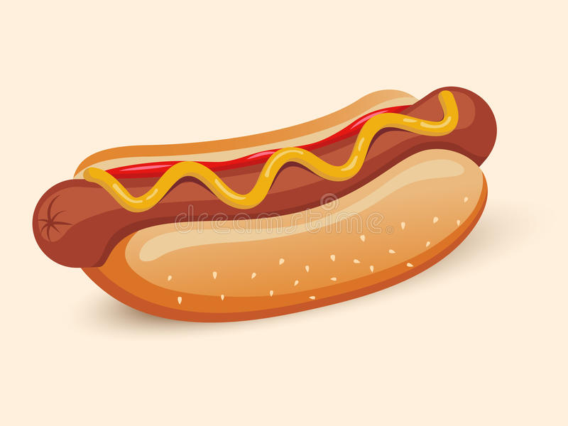 Sanduíche americano do hotdog ilustração stock