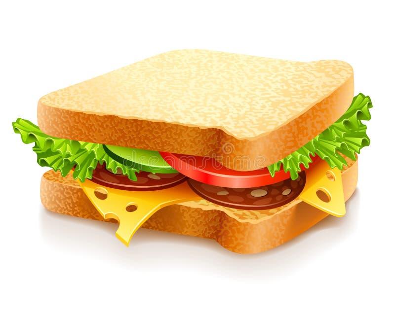 Sanduíche apetitoso com queijo e vegetais ilustração stock