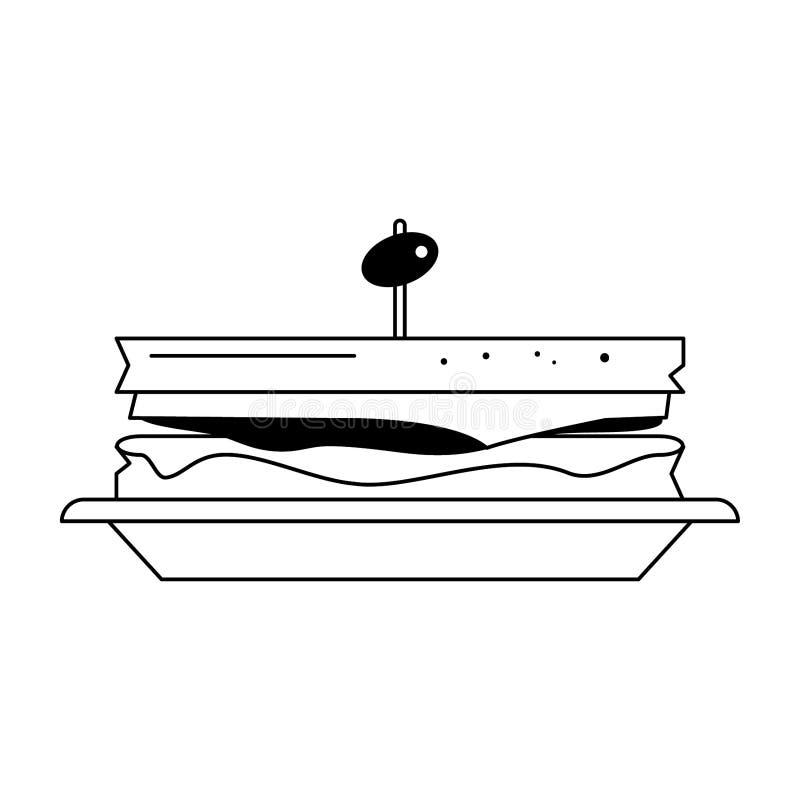 Sanduíche com azeitona no prato em preto e branco ilustração stock