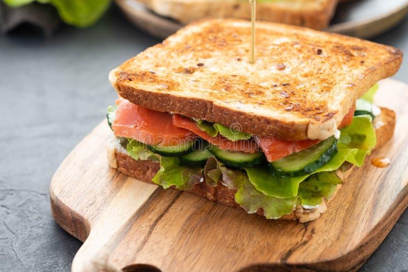 Sanduíche com brindes do pão branco, os salmões vermelhos dos peixes, as folhas verdes frescas da salada e o pepino cortado em um imagem de stock
