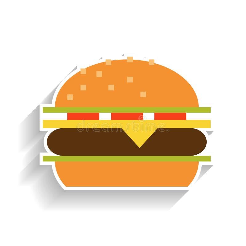 Sanduíche com carne, queijo, tomates e alface Ícone liso da cor, objeto do fast food e petisco ilustração royalty free